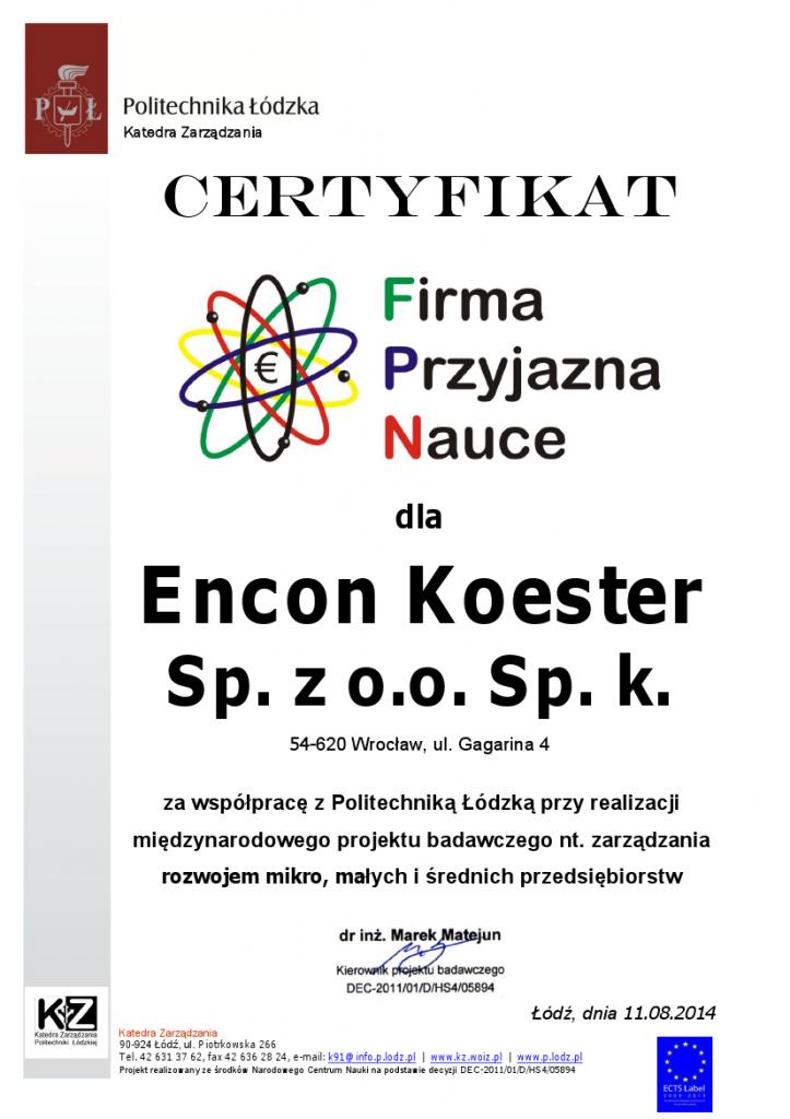 Certyfikat dla Encon-Koester -  Firma Przyjazna Nauce